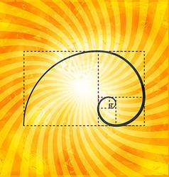 Golden ratio figure on textured sunray background vector