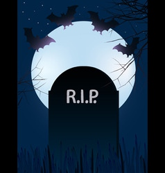 gravestone with rest in peace with full moon and b vector image