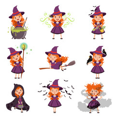 little girl witch set wearing purple dress and hat vector image vector image