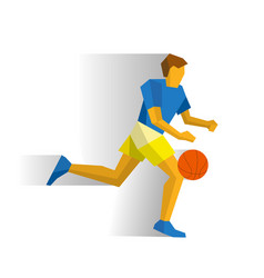 running basketball player isolated on white vector image vector image