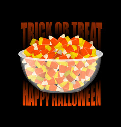 trick or treat happy halloween bowl and candy vector image vector image