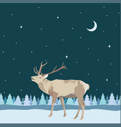 decorative border from winter reindeer with antler vector image vector image