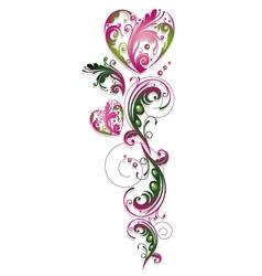 Vintage flowers heart vector image vector image