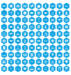 100 sweepstakes icons set blue vector