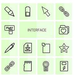 14 interface icons vector image