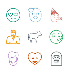 9 face icons vector image
