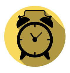 Alarm clock sign flat black icon with vector