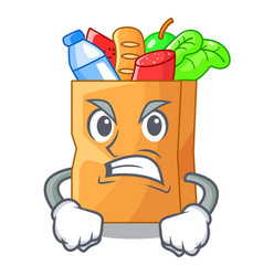 angry realistic food in a bag character vector image