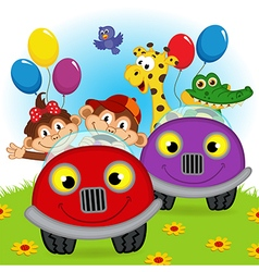 Animals traveling in cars vector