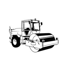 Asphalt steam roller - compactor equipment builder vector