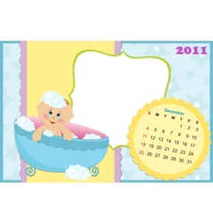 Babys calendar for december 2011 vector