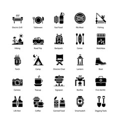 Barbecue and grill solid icons set vector