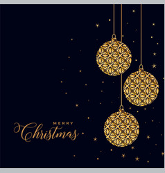 beautiful decorative christmas golden balls on vector image