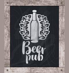 beer bottle drawing chalk on board in wooden frame vector image