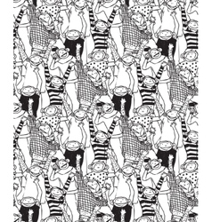 Big group monkey seamless black and white pattern vector