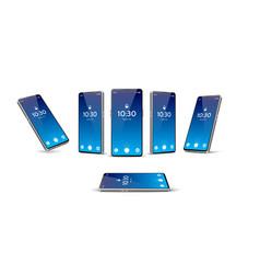 blue frameless smartphone mockup set 3d vector image