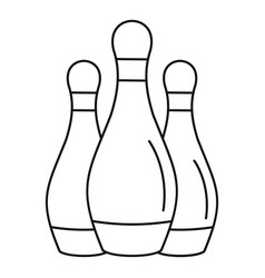 Bowling set pins icon outline style vector