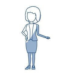 Businesswoman cartoon girl standing wearing skirt vector
