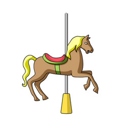 carousel for children horse on the pole for vector image