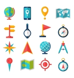 Cartography Flat Icon Set vector image
