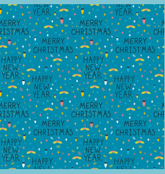 christmas and new year seamless pattern cute vector image