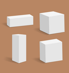 Collection of various white blank boxes vector