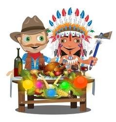 Cowboy and Injun sitting at the holiday table vector