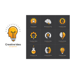 Creative idea logo set with human head brain vector