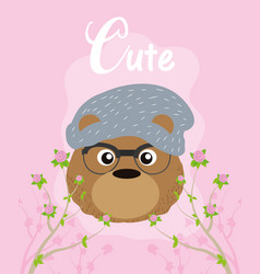 cute hipster bear cartoon vector image