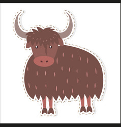 Cute yak cartoon flat sticker or icon vector