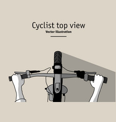 cyclist and bicycle hands top view duotone vector image