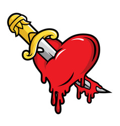 Dagger and bloody heart in cartoon style vector