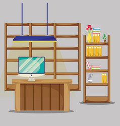 Desk with office flat accessories to work vector
