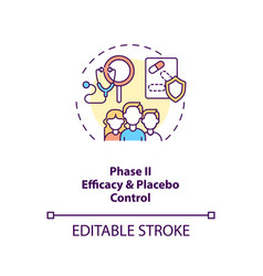 Efficacy and placebo control concept icon vector