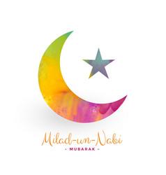 Eid milad un nabi moon and star design background vector