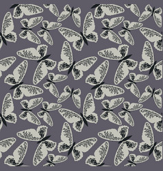 Elegant seamless pattern with cute butterflies on vector