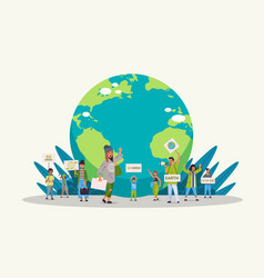 environmental activists holding posters go green vector image