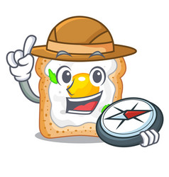 Explorer sandwich with egg above character board vector