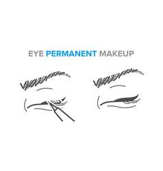 Eyeliner procedure eye permanent vector