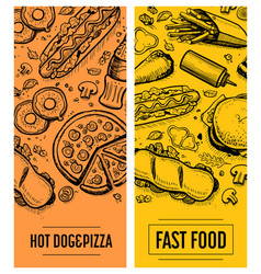 Fast food restaurant menu card template set vector