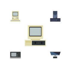 flat icon computer set of pc computer vintage vector image