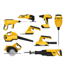 flat set of power tools for construction vector image