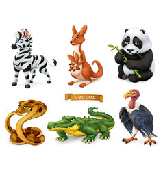 Funny animals zebra kangaroo panda bear cobra vector