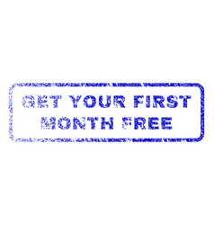 Get your first month free rubber stamp vector