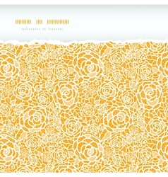 Golden lace roses torn horizontal seamless pattern vector