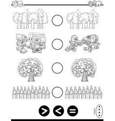 Greater less or equal coloring book vector