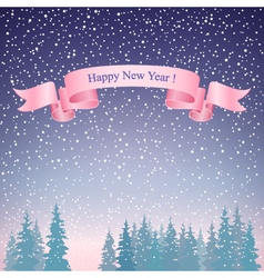 Happy New Year Landscape and Pink Ribbon vector image