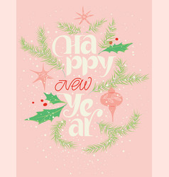 happy new year lettering and card vector image