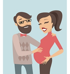 Happy pregnant couple vector