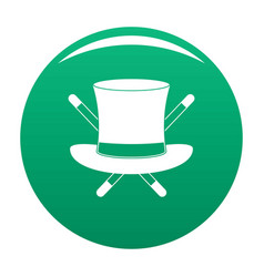 hat with a stick icon green vector image